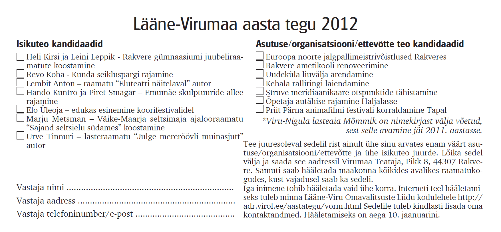 Lääne-Virumaa aasta tegu 2012