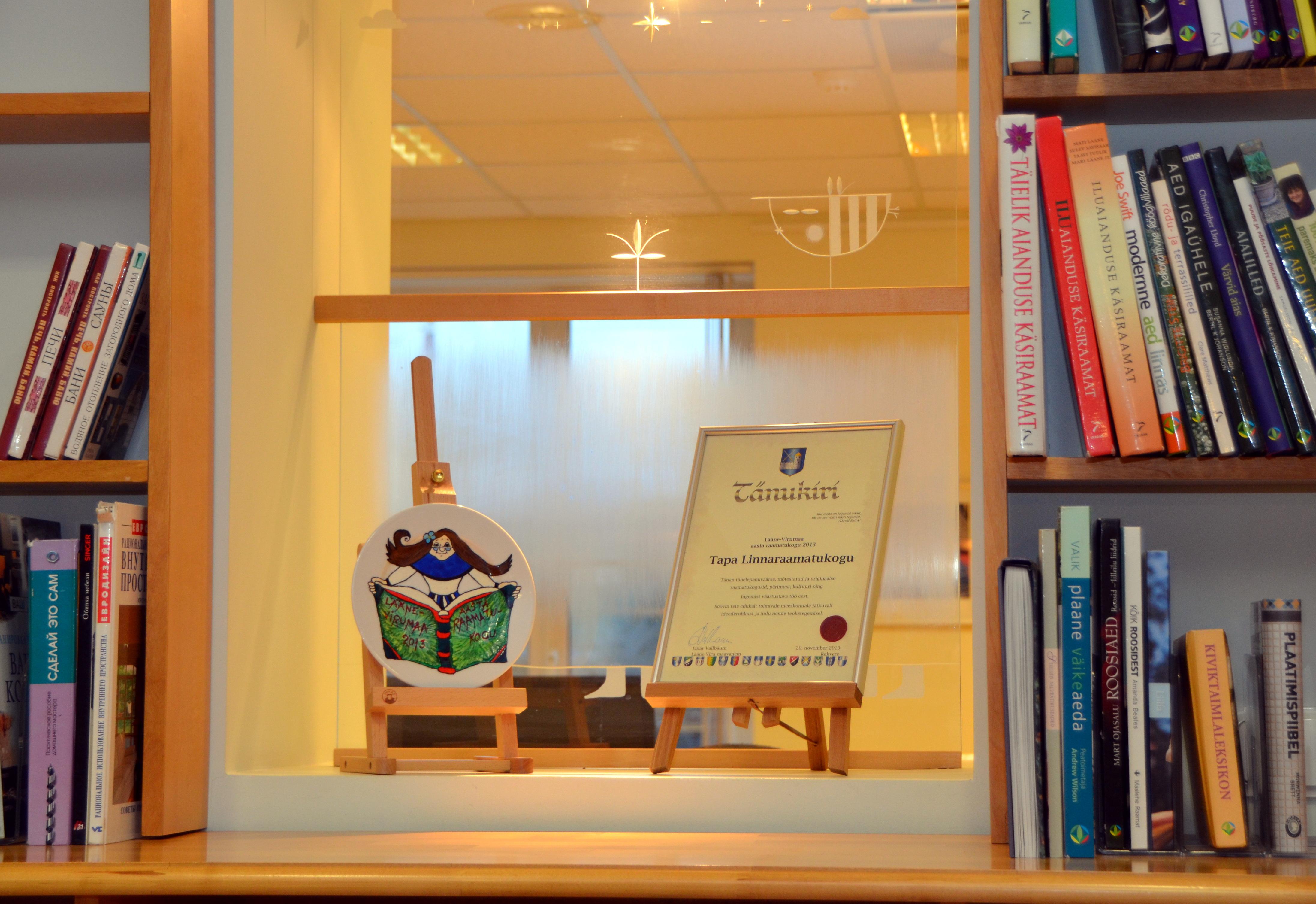 Maakonna aasta raamatukogu 2013 on Tapa Linnaraamatukogu