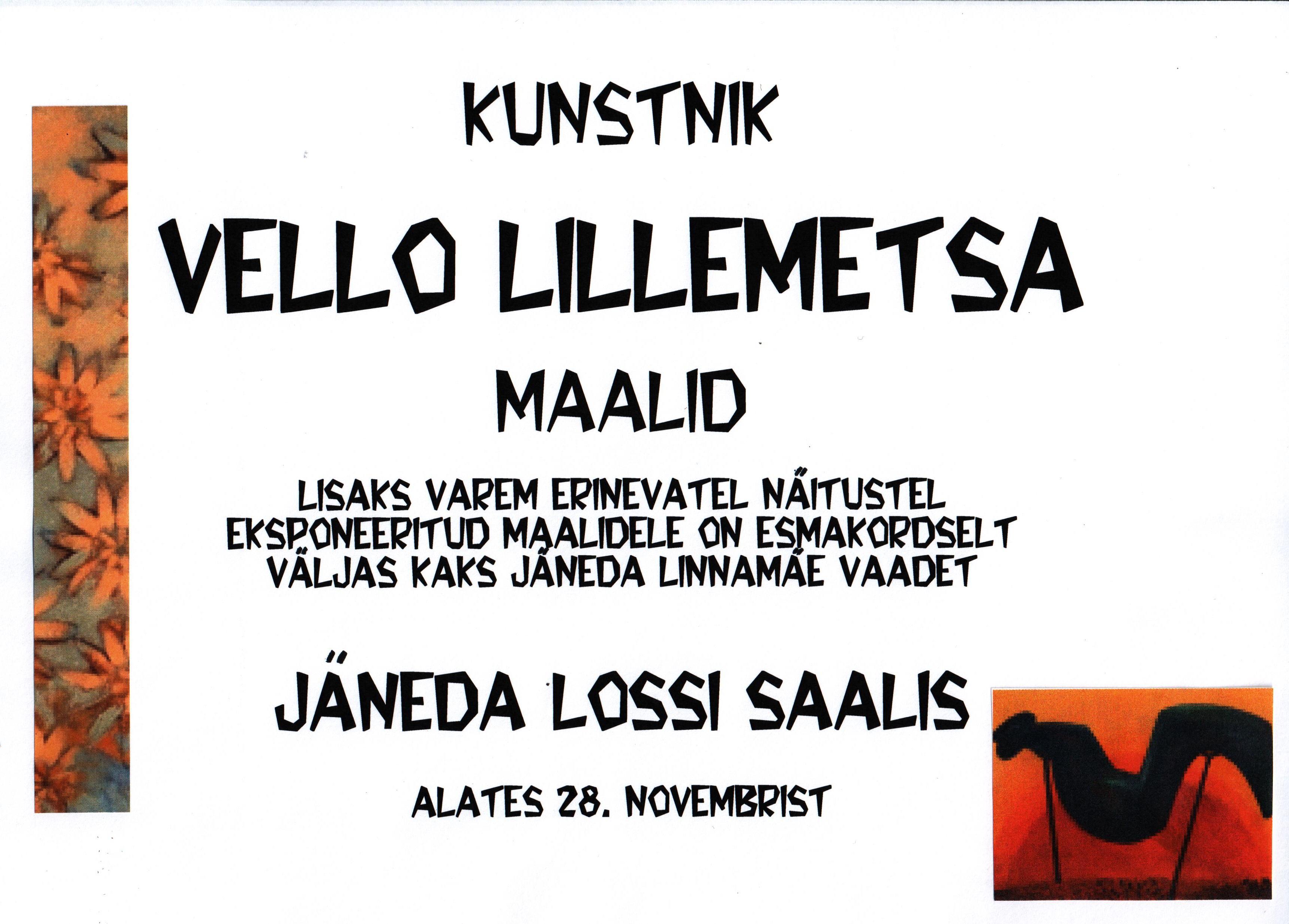 Kunstnik Vello Lillemetsa maalid Jäneda lossi saalis