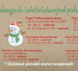 (Eesti) Raamatukogude lahtiolekuajad pühade ajal